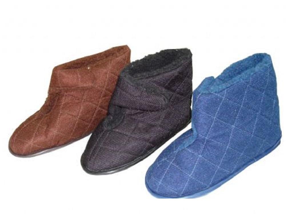 Menu0026#39;s Lightweight Washable Edema Bootie Slipper For Swollen Feet Velcro Closure | EBay